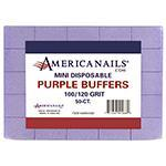 Americanails Disposable Mini Purple Buffers 100/120 Grit 50ct